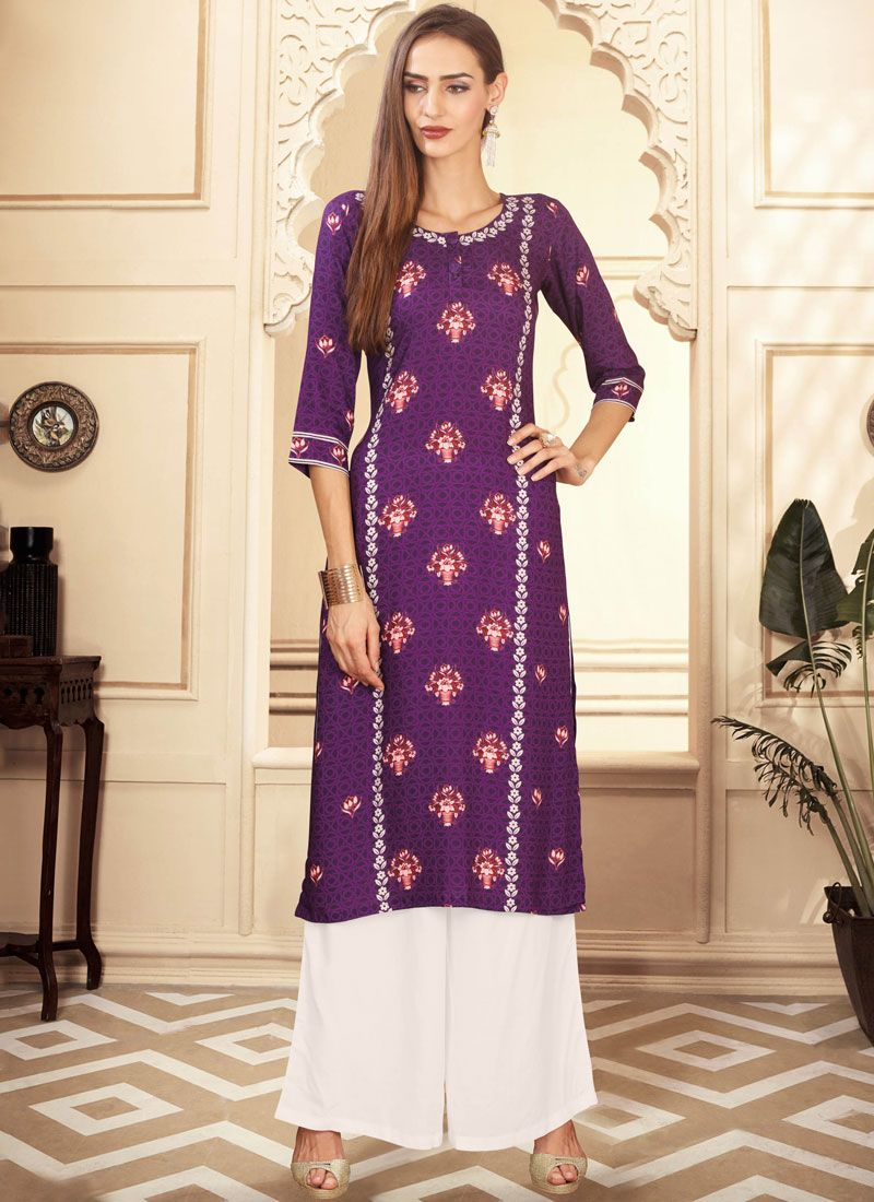 Rayon Digital Print Purple Palazzo Designer Suit