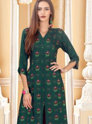 Rayon Digital Print Trendy Palazzo Salwar Kameez in Green