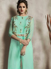 Rayon Embroidered Aqua Blue Party Wear Kurti