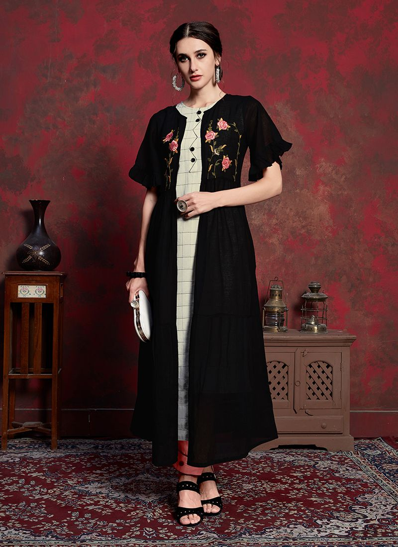Rayon Embroidered Black Party Wear Kurti