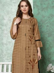 Rayon Embroidered Brown Party Wear Kurti