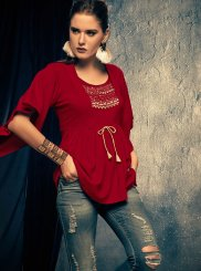 Rayon Embroidered Casual Kurti in Maroon