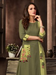Rayon Embroidered Green Party Wear Kurti