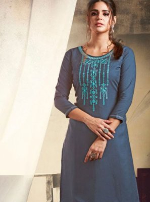 Rayon Embroidered Grey Casual Kurti