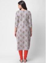 Rayon Embroidered Grey Designer Kurti