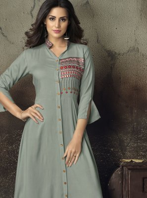 Rayon Embroidered Grey Party Wear Kurti