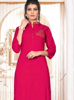 Rayon Embroidered Hot Pink Party Wear Kurti