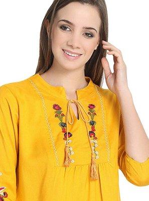 Rayon Embroidered Mustard Casual Kurti