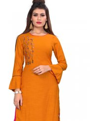 Rayon Embroidered Orange Party Wear Kurti