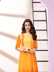 Rayon Embroidered Orange Party Wear Kurti
