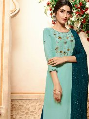 Rayon Embroidered Palazzo Designer Salwar Kameez in Blue