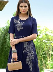 Rayon Embroidered Party Wear Kurti in Blue
