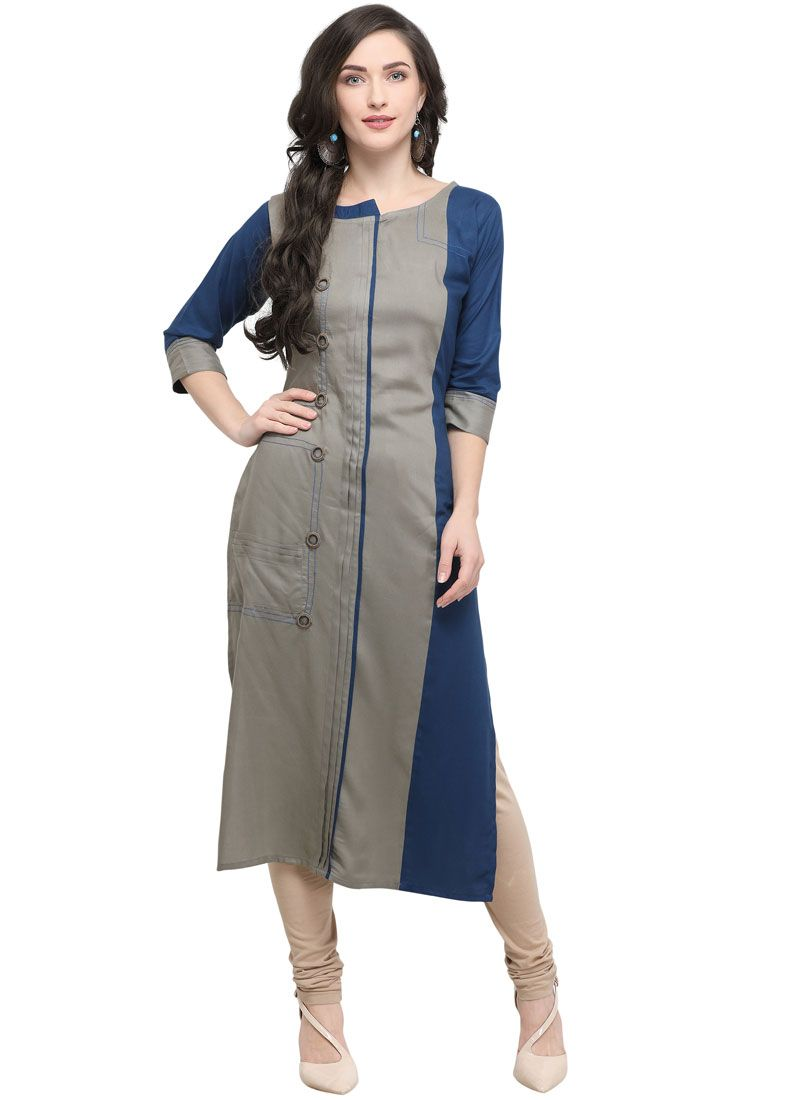 Rayon Embroidered Party Wear Kurti in Blue and Grey