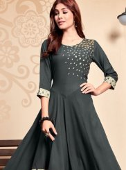 Rayon Embroidered Party Wear Kurti in Grey