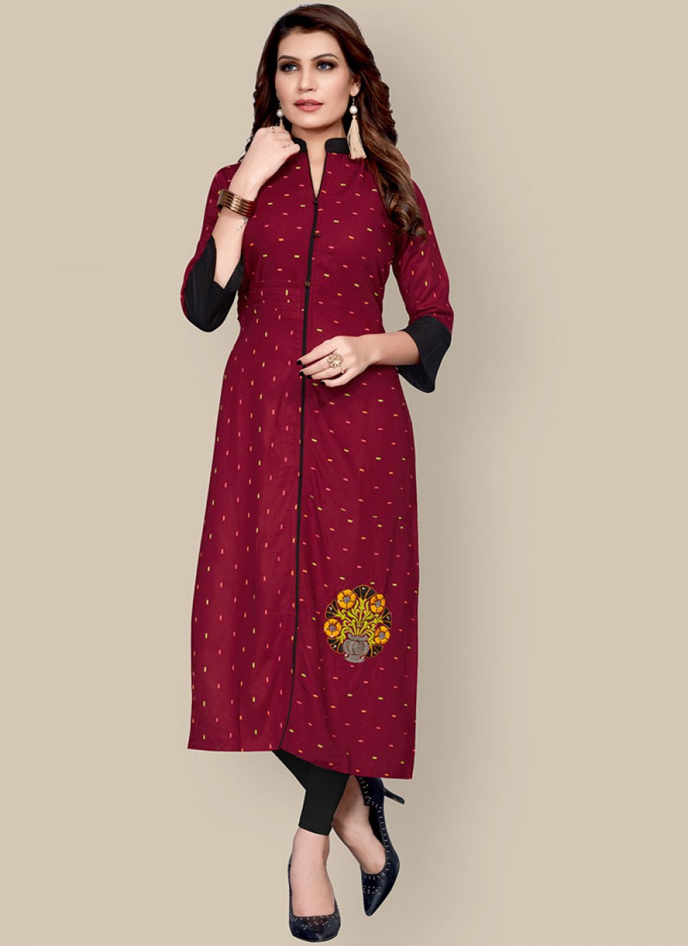 Rayon Embroidered Party Wear Kurti in Maroon