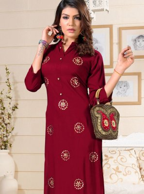 Rayon Fancy Party Wear Kurti