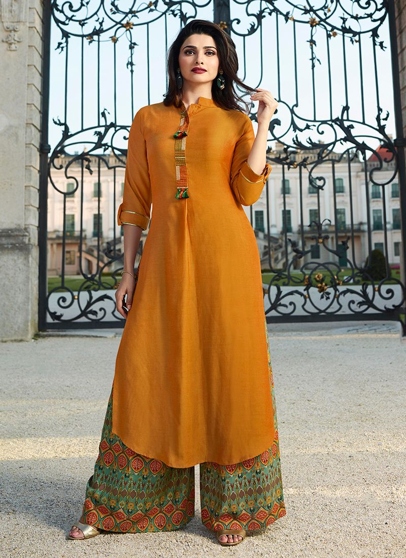 Rayon Fancy Party Wear Kurti in Yellow