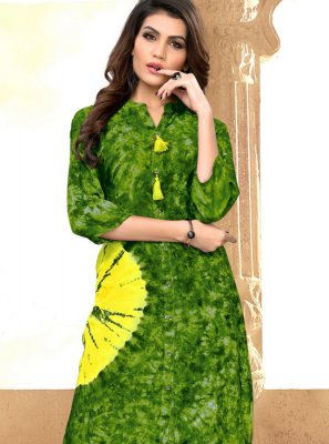 Rayon Green Print Party Wear Kurti