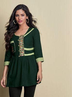 Rayon Green Thread Work Casual Kurti