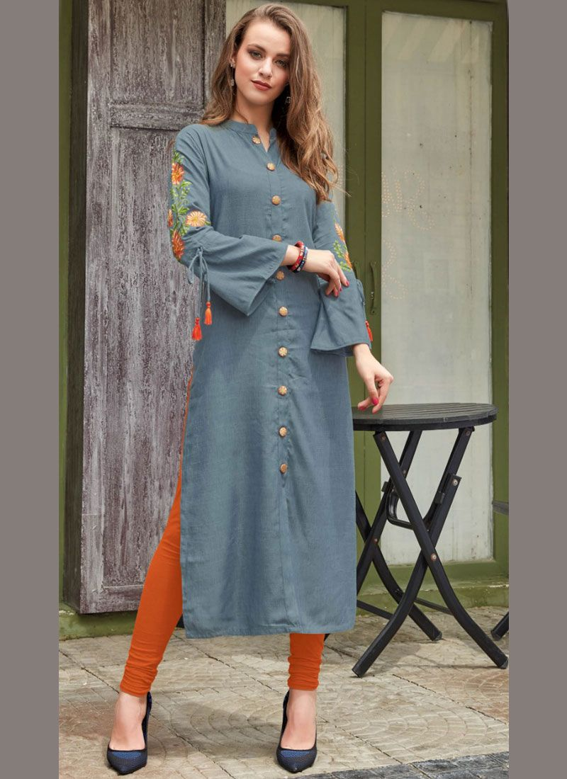 Rayon Grey Embroidered Party Wear Kurti