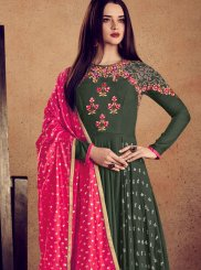 Rayon Lace Green Readymade Anarkali Suit