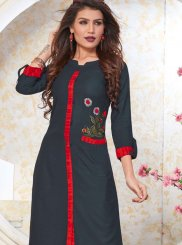 Rayon Machine Embroidery  Casual Kurti