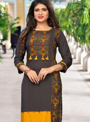 Rayon Multi Colour Casual Kurti