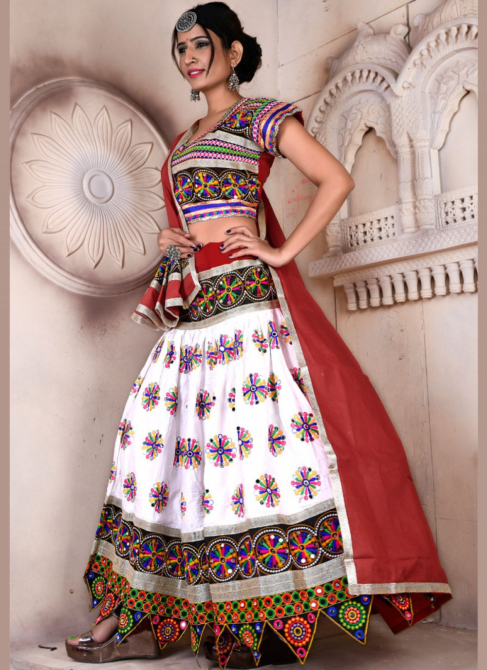 Rayon Multi Colour Embroidered Lehenga Choli