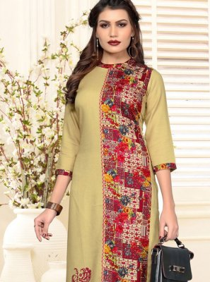 Rayon Multi Colour Printed Casual Kurti