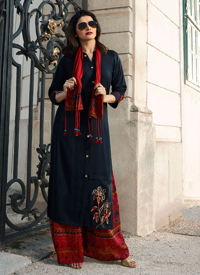 Rayon Navy Blue Party Wear Kurti