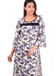 Rayon Off White Printed Casual Kurti