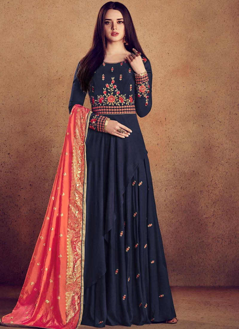Rayon Party Readymade Anarkali Suit