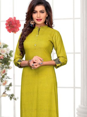 Rayon Party Wear Kurti in Green
