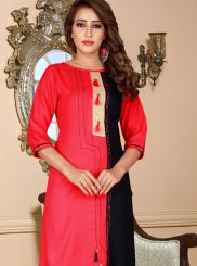 Rayon Party Wear Kurti in Rose Pink