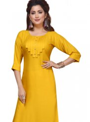 Rayon Party Wear Kurti in Yellow