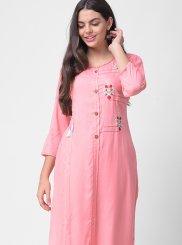 Rayon Pink Embroidered Designer Kurti