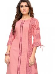 Rayon Pink Party Wear Kurti