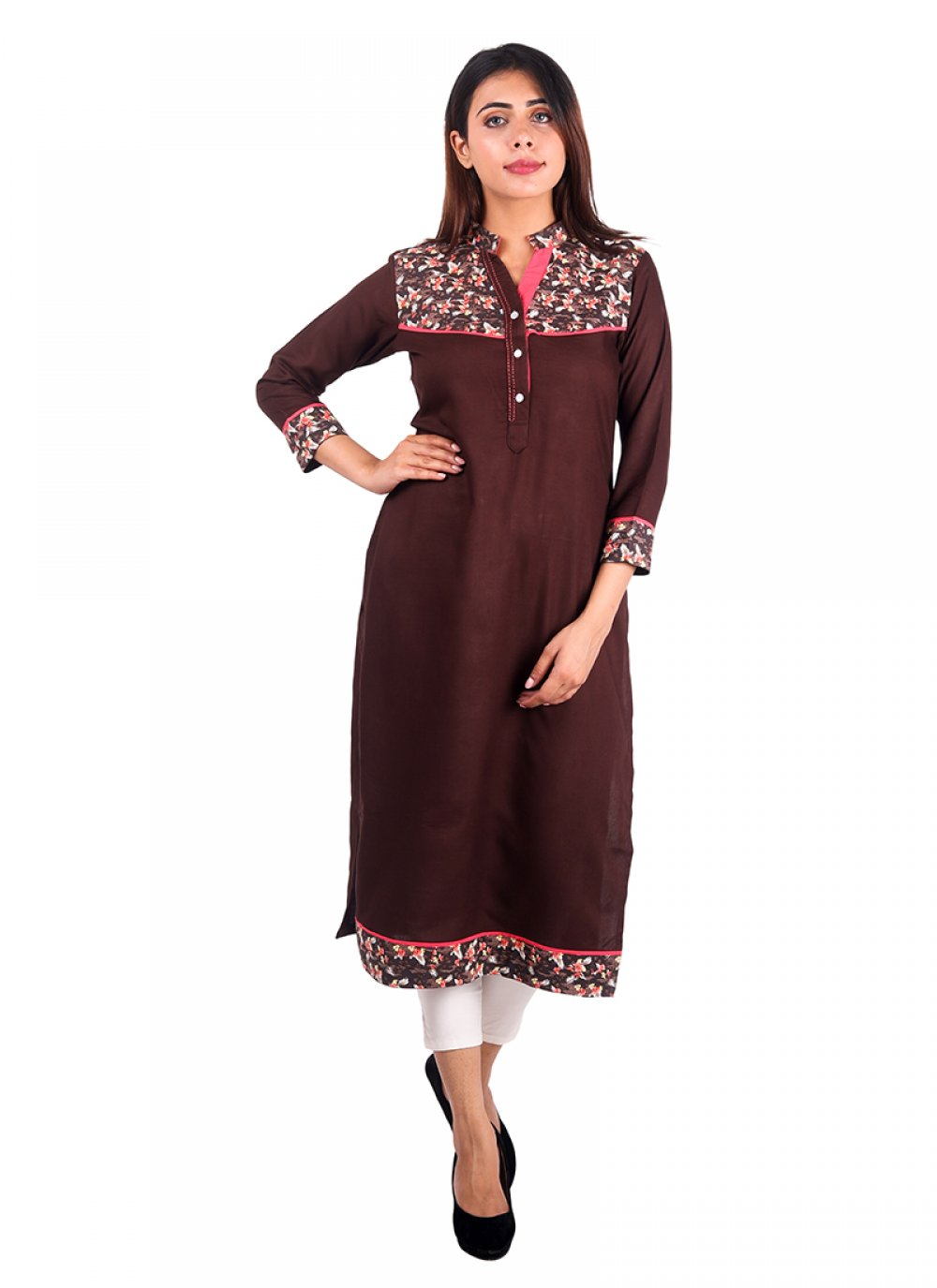 Rayon Plain Brown Casual Kurti