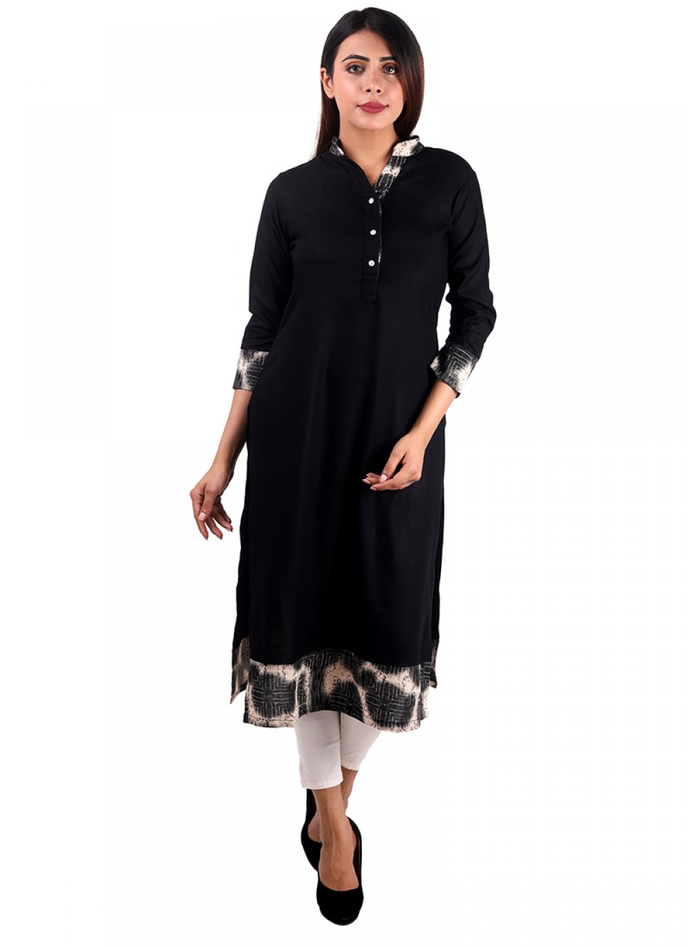 Rayon Plain Casual Kurti in Black
