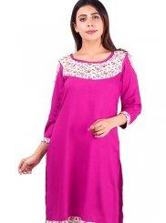 Rayon Plain Casual Kurti in Pink