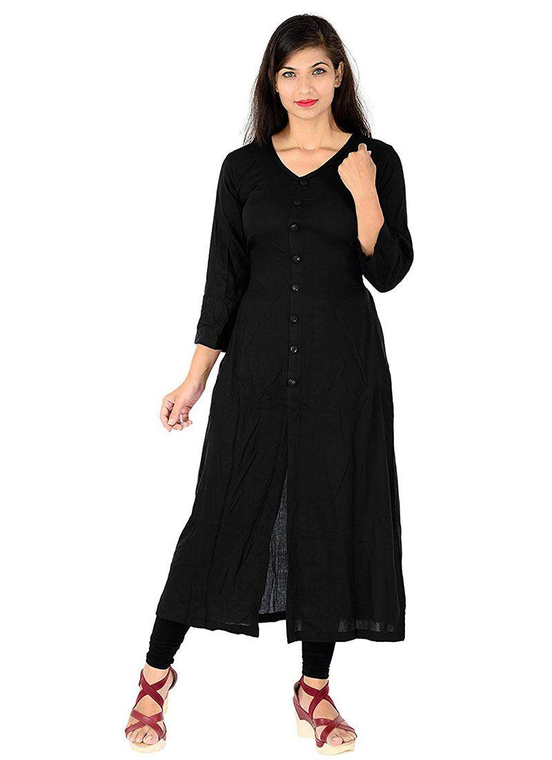 Rayon Plain Designer Kurti in Black