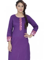 Rayon Plain Designer Kurti in Purple