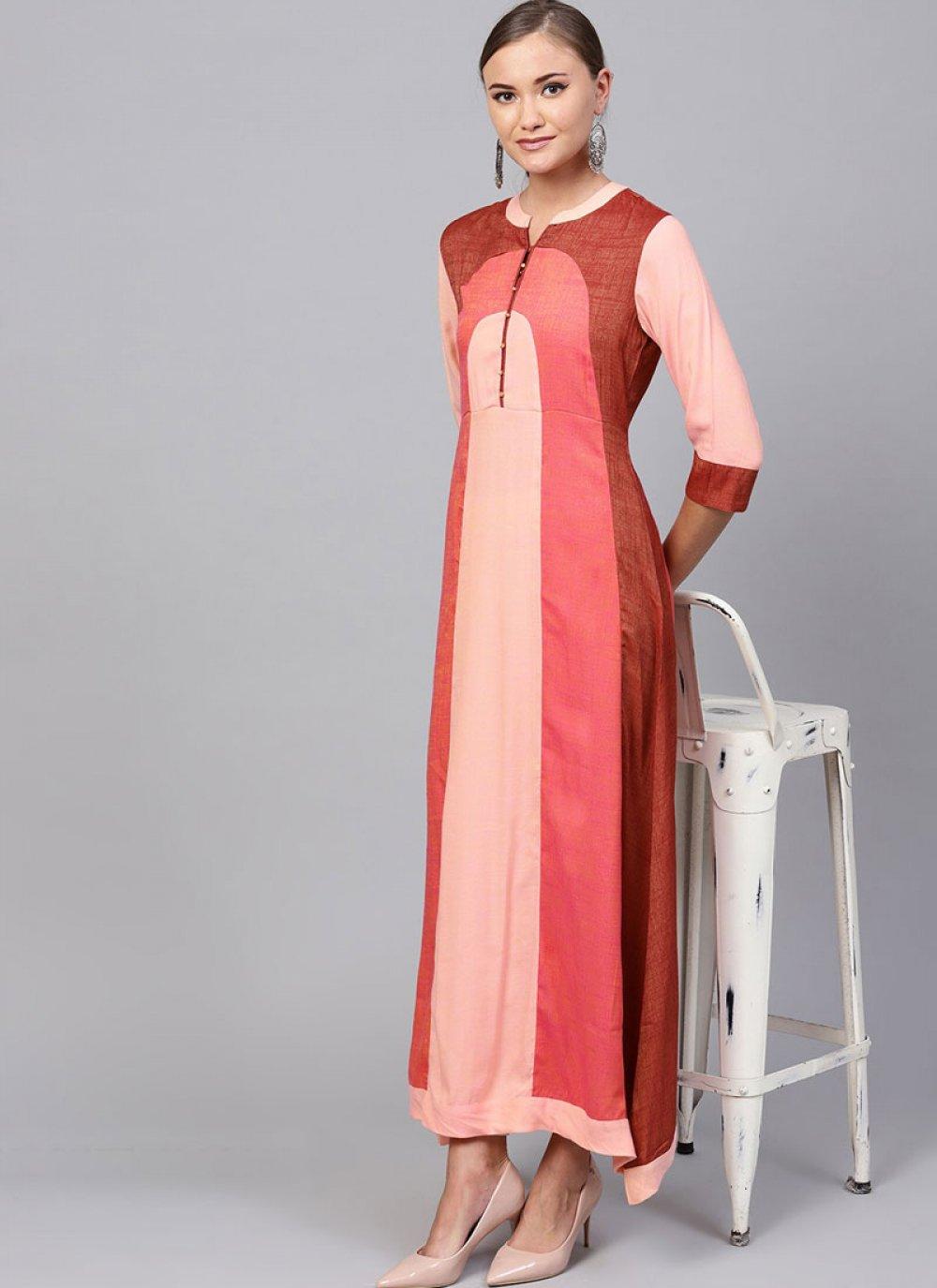 Rayon Plain Party Wear Kurti