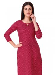 Rayon Plain Red Casual Kurti