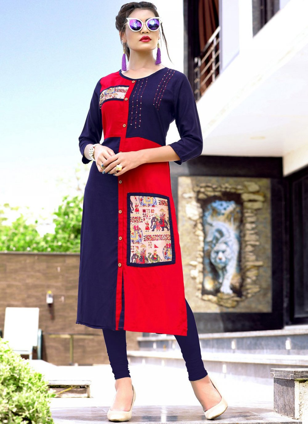 Rayon Print Blue and Red Party Wear Kurti