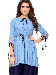 Rayon Print Blue Party Wear Kurti