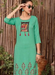 Rayon Print Casual Kurti in Green