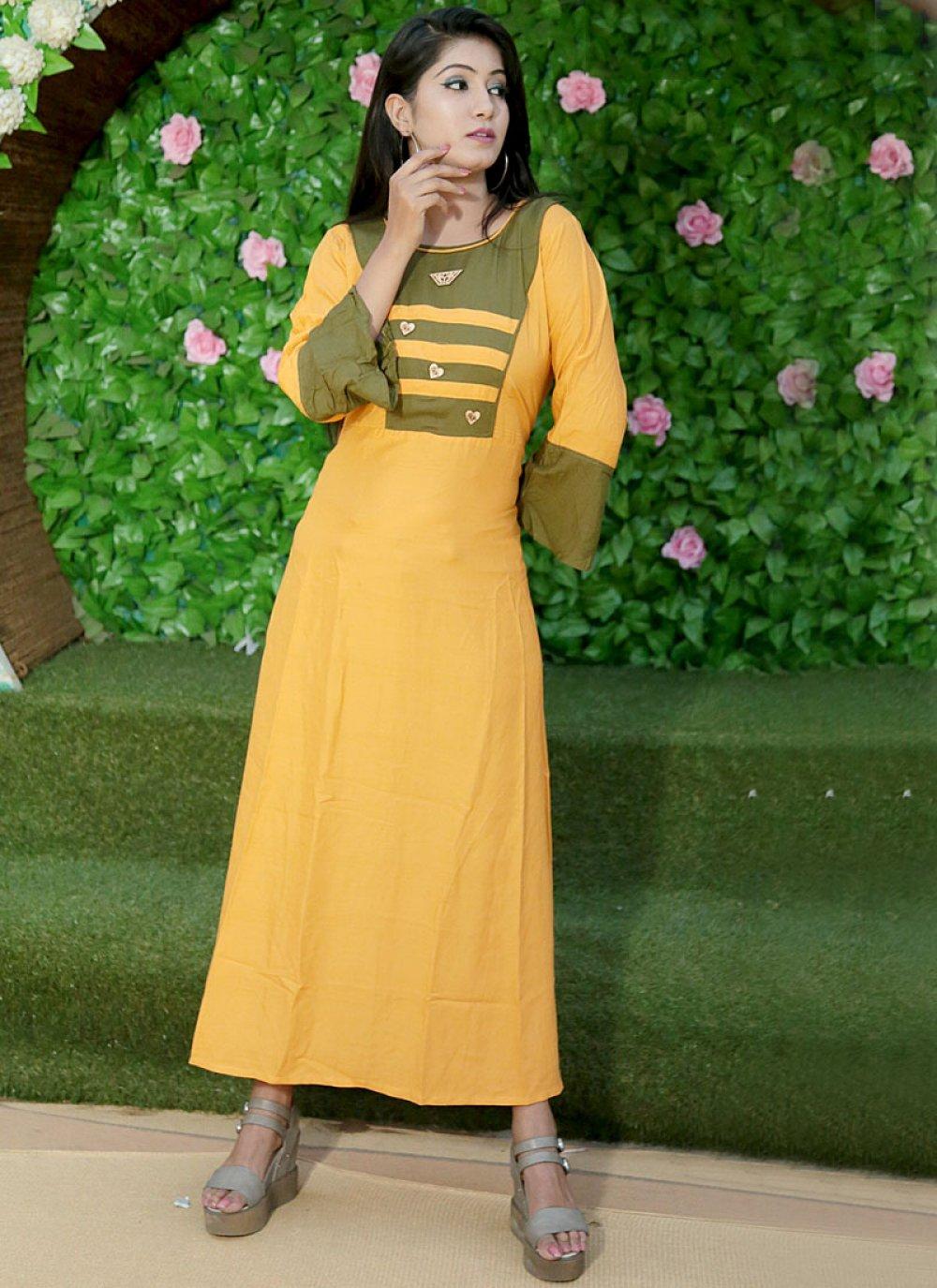 Rayon Print Casual Kurti in Yellow