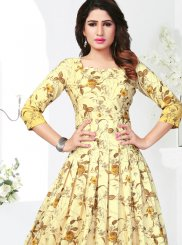 Rayon Print Casual Kurti in Yellow
