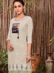 Rayon Print Off White Casual Kurti